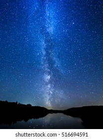 Milky way and stars over the river.