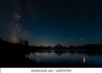 Milky Way and Stars over Teton Range in Wyoming