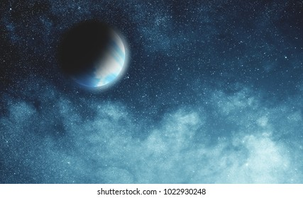 Milky way stars and planet 3D render / illustration.. My astronomy work.