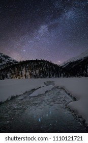 Milky Way in the Swiss alps reflected in a small glacier creek in the middle of a winter scenery