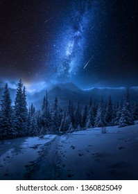 Milky way, Tatras Mountains in winter at night, Poland