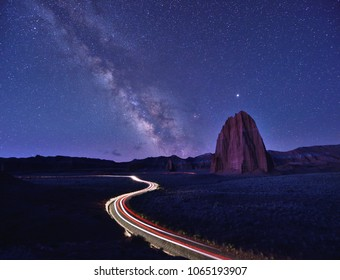Milky way, Temple of Sun and light trails in Cathedral Valley, Capitol Reef, Utah