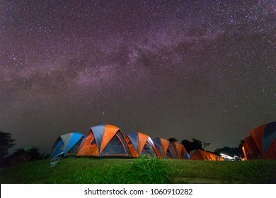 Milky Way with tent in Doi Samer Dao,  Sri Nan national park,Thailand