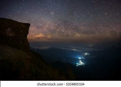 Milky way from top of mountain in Chiangrai, Thailand