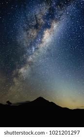 Milky Way towering over Mount Taranaki, Volcano in New Zealand