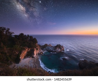 Milky Way And Twilight Over McWay Falls In Big Sur