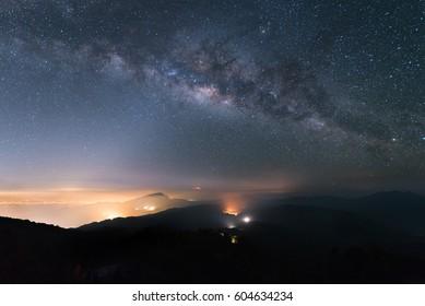 Milky way and Zodiac light on night sky above Doi Inthanon National park. Chiang mai, Thailand.