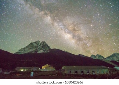 Milkyway Above Summit Amadablam Taken From Dingboche Village.