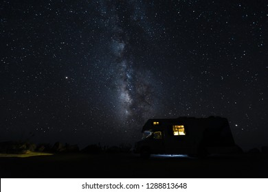 Milkyway behind a camper at Seal Beach Scenic Overlook in California