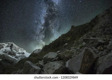 Milkyway landscape on Sustenpass in the swiss alps.