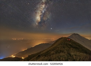 Milkyway with a mountain as a background