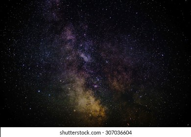 The milkyway on a clear night whilst camping, long exposure with high iso with visible grain