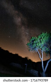 milkyway as seen from the countryside, with a slight amount of light pollution