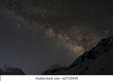 Milkyway in snowy mountains from Annapurna base camp, round Annapurna circuit trekking trail, Nepal