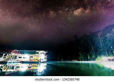 Milkyway view at the lake. Visible noise due to high ISO.