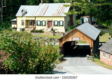 Mill Bridge in Tunbridge, Vermont crosses the White River.