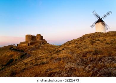 Mill and Castle. La Mancha. Spain