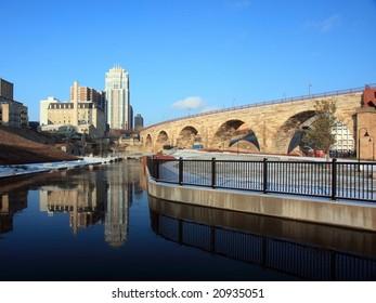 Mill City Ruin park and Stone Arch bridge in Minneapolis