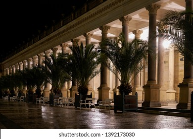 Mill Colonnade in the old town of Karlovy Vary, in the Czech Republic at night