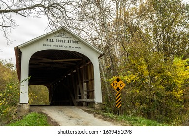 The Mill Creek Bridge was built in 1907 in the Liberty Township by builder Wm. Hendricks and Contractor D.M. Brown