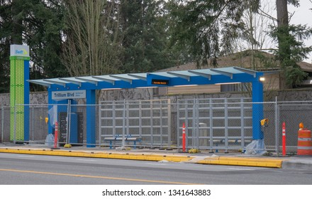 Mill Creek, WA / USA - March 14 2019: Snohomish County's community transit  Swift Green Line bus stop in Mill Creek is set to open on March 24, 2019 at noon.