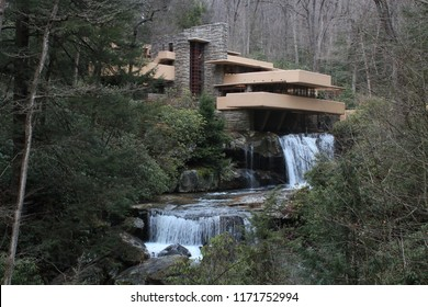 Mill Run, Pennsylvania - 03/21/2015: Fallingwater. Edgar Kaufmann residence. Frank Lloyd Wright architect.