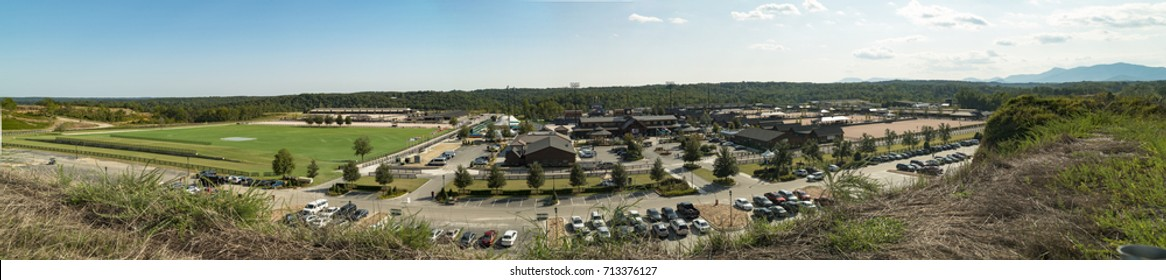 MILL SPRINGS, NC - SEPTEMBER 9, 2017: Panoramic view of the Tryon International Equestrian Center, the host of the 2018 FEI World Equestrian Games.