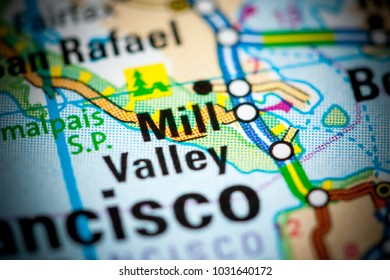Mill Valley. California. USA on a map.