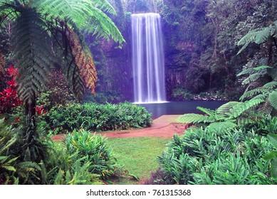 Millaa Millaa Falls of Wooroonooran National Park in tropical Queensland Australia.