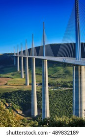 Millau, France - August 21, 2016: The Millau Viaduct Is The Tallest Bridge In The World with One Mast's Summit At 343 Metres Above The Base Of The Structure. Aveyron, Midi Pyrenees, France