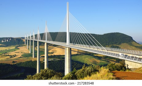 MILLAU, FRANCE - JUNE 20, 2014: Millau Viaduct. Millau Viaduct designed by the French structural engineer Michel Virlogeux and British architect Norman Foster, it is the tallest bridge in the world.