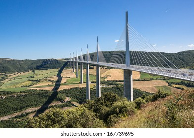 MILLAU, FRANCE - JUNE 30: Millau viaduct on June 30, 2013 in Millau, France. The Millau viaduct is the highest bridge in the world.