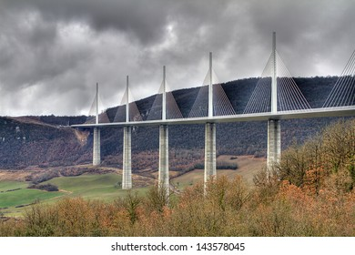 MILLAU, FRANCE - MARCH 24: View of Millau Viaduct, a cable stayed bridge that spans the valley of the river Tarn, on March 24, 2013, in Millau, France. It is the tallest bridge in the world (343 m).