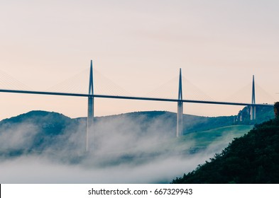 MILLAU, FRANCE - MAY 10: A view on the Viaduc Millau in Millau, France on May 10, 2017
