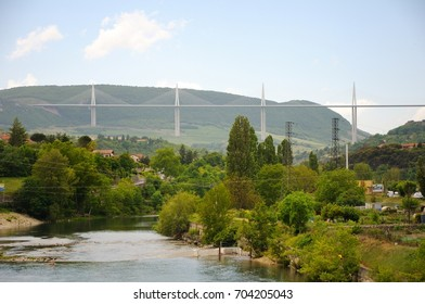MILLAU, FRANCE - MAY 22, 2014: View of the Millau Viaduct, the tallest cable-stayed bridge over the Tarn valley in France.