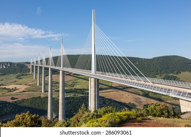 MILLAU, FRANCE - MAY 28: The Millau Viaduct in France. The bridge is the tallest in the world with one mast's summit at 343 meters. May 28, 2015 in Millau, France