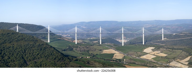 MILLAU, FRANCE - OCTOBER 23, 2014: View of Millau Viaduct, a cable stayed bridge that spans the valley of the river Tarn in southern France. It is the tallest bridge in the world.
