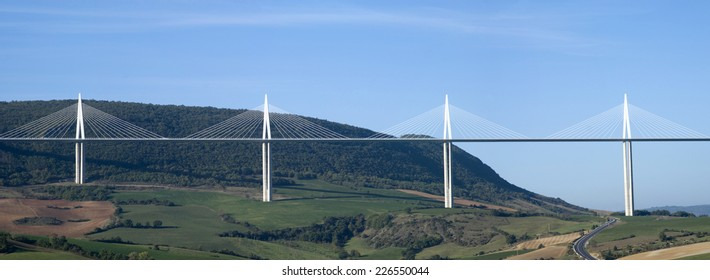 MILLAU, FRANCE - OCTOBER 23, 2014: View of the Millau Viaduct, the tallest cable-stayed bridge over the Tarn valley in France, designed by the structural engineer Michel Virlogeux and architect Foster
