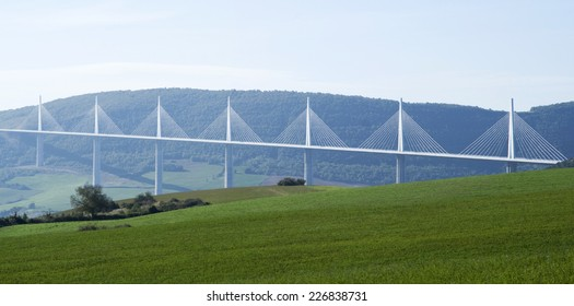 MILLAU, FRANCE - OCTOBER 23, 2014: View of the Millau Viaduct, the tallest cable-stayed bridge over the Tarn valley in France, designed by the structural  engineer Virlogeux and architect Foster.