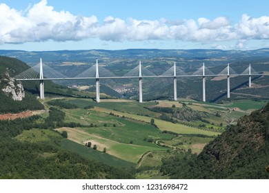 MILLAU, FRANCE -  SEPTEMBER 27, 2017: View of Millau Viaduct,bridge that spans the valley of the river Tarn in southern France.