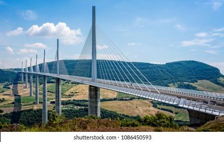 The Millau Suspension Bridge taken in Millau, Aveyron, France on 9 June 2015