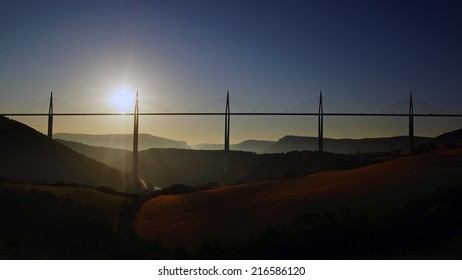 The Millau Viaduct in Aveyron Departement, France