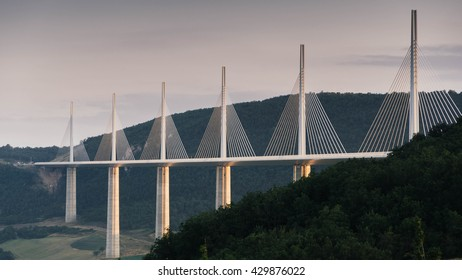 Millau Viaduct, Aveyron Departement, France, August 23, 2013: The Millau Viaduct is a cable-stayed bridge that spans the valley of the River Tarn near Millau in southern France. Total length: 2,460 m