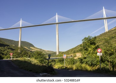 The Millau Viaduct, a cable-stayed bridge that spans the valley of the River Tarn near Millau in southern France. It is the tallest bridge in the world with one mast's summit at 343 m.