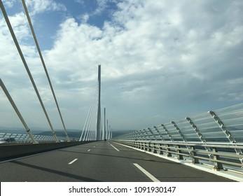 The Millau viaduct in France from the road.