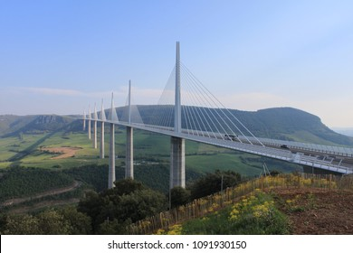 The Millau viaduct from the side, France.