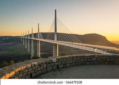 Millau viaduct world famous daring Bridge in central France at sunset