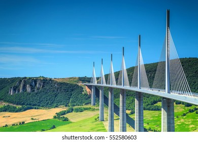 MILLAU,FRANCE - JULY 03, 2016: Best locations of world,stunning viaduct of Millau with agriculture fields,Aveyron region,France,Europe JULY 03, 2016 in Millau,France