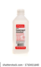 Millburn, New Jersey, USA - April 11, 2020: A plastic bottle of isopropyl alcohol.