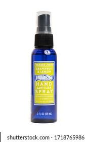 Millburn, New Jersey, USA - April 29, 2020: A spray bottle of Trader Joe's Hand Sanitizer Spray on a white background.